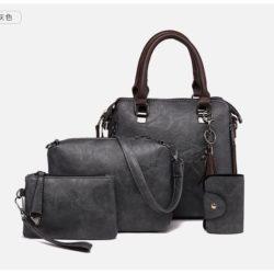 JT819624-gray Tas Handbag Selempang Wanita 4in1