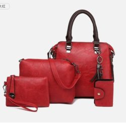 JT819624-red Tas Handbag Selempang Wanita 4in1