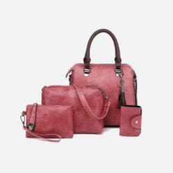 JT819624-darkpink Tas Handbag Pesta Wanita 4in1 Terbaru