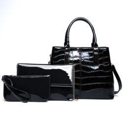 JT8201-black Tas Handbag Wanita Import Set 3in1