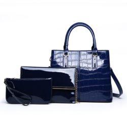 JT8201-blue Tas Handbag Wanita Import Set 3in1