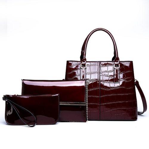 JT8201-red Tas Handbag Wanita Import Set 3in1