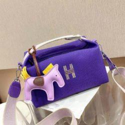 JT8344-purple Doctor Bag Wanita Fashion Elegan Gantungan Pony