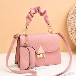 JT8398-pink Tas Selempang Pesta Wanita Elegan 2in1