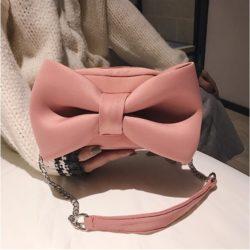 JT8608-pink Tas Selempang SUEDE Ribbon Cantik Import