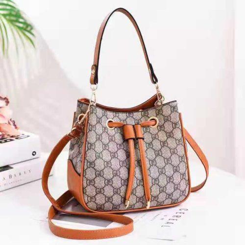JT86211-gdbrown Tas Selempang Serut Fashion Wanita Cantik