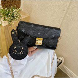 JT8807-black Tas Selempang Wanita Cantik Elegan 2in1