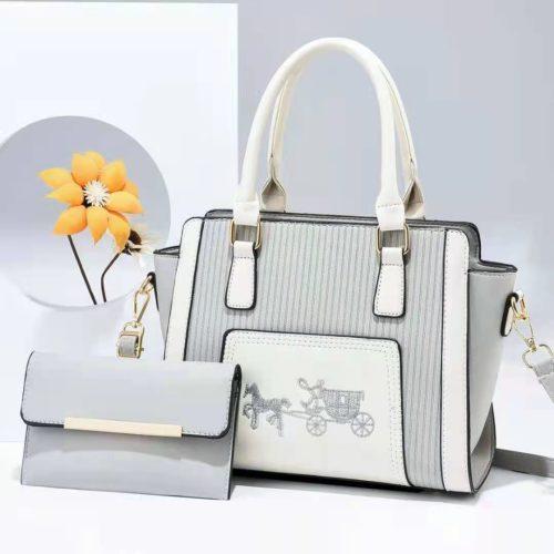 JT88535-gray Tas Handbag Selempang 2in1 Import Wanita Terbaru