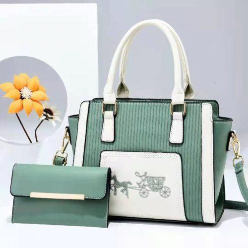 JT88535-green Tas Handbag Selempang 2in1 Import Wanita Terbaru