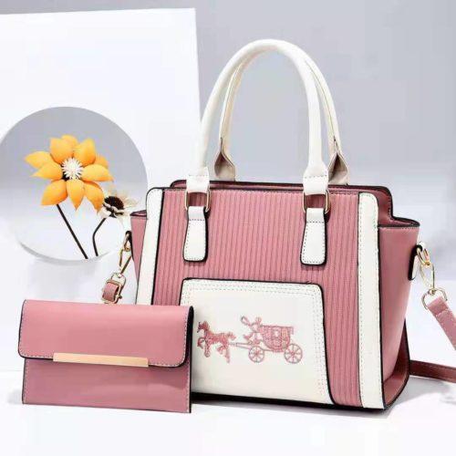 JT88535-pink Tas Handbag Selempang 2in1 Import Wanita Terbaru