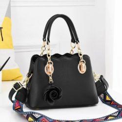 JT886-black Tas Handbag Wanita Elegan Gantungan Rose (2 Tali Panjang)