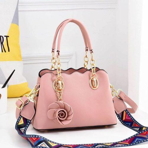 JT886-pink Tas Handbag Wanita Elegan Gantungan Rose (2 Tali Panjang)