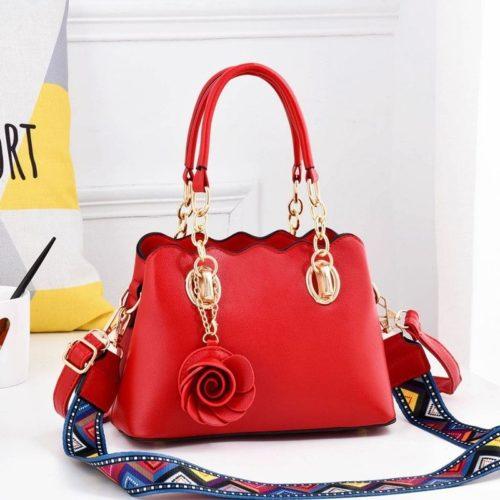 JT886-red Tas Handbag Wanita Elegan Gantungan Rose (2 Tali Panjang)