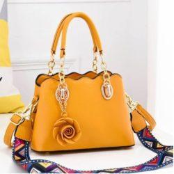 JT886-yellow Tas Handbag Wanita Elegan Gantungan Rose (2 Tali Panjang)