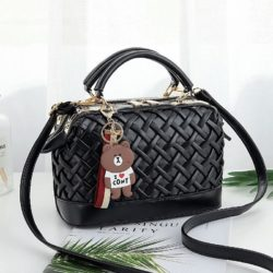 JT8872-black Doctor Bag Fashion Import Wanita Elegan