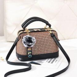 JT887613-brown Doctor Bag Pom Pom Import Terbaru