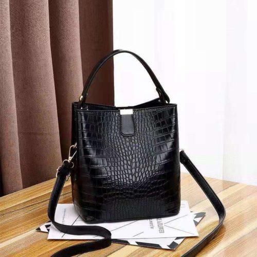 JT8881-black Tas Handbag Selempang Croco Wanita Cantik Import