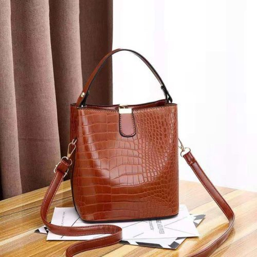 JT8881-brown Tas Handbag Selempang Croco Wanita Cantik Import