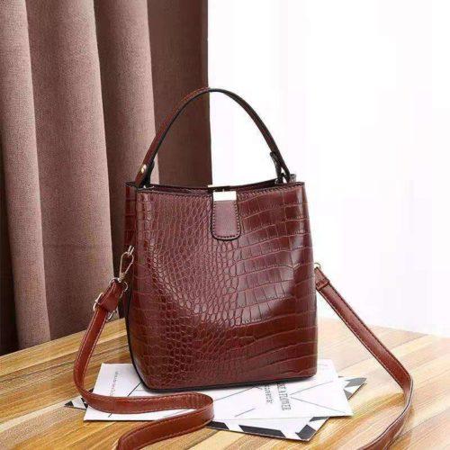 JT8881-coffee Tas Handbag Selempang Croco Wanita Cantik Import