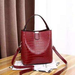 JT8881-red Tas Handbag Selempang Croco Wanita Cantik Import