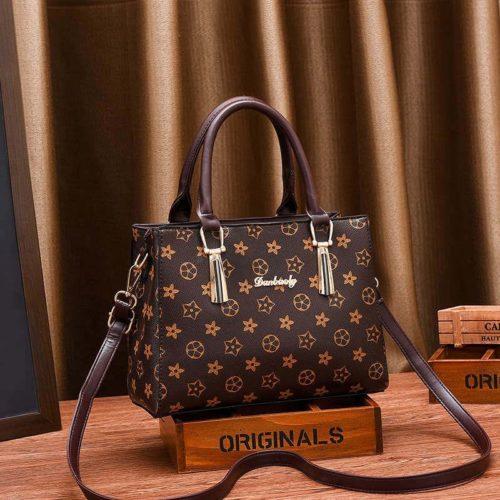 JT89071-flowerbrown Tas Handbag Selempang Wanita Elegan Import