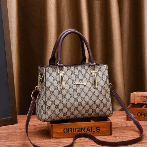 JT89071-gdbrown Tas Handbag Selempang Wanita Elegan Import