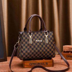 JT89071-plaidbrown Tas Handbag Selempang Wanita Elegan Import