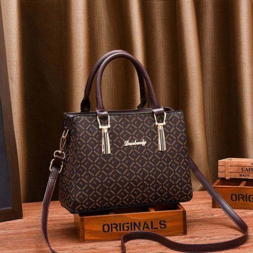JT89071-sadinibrown Tas Handbag Selempang Wanita Elegan Import