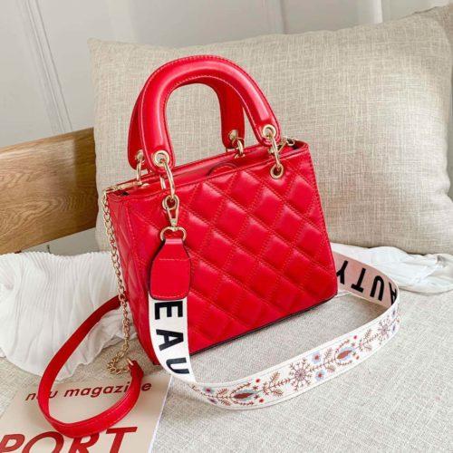 JT8910-red Tas Handbag Fashion Wanita Cantik Tali Selempang