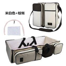 JT90373-beige Tas Multifungsi Tempat Tidur Bayi Portable Import