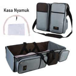 JT90373-darkgray Tas Multifungsi Tempat Tidur Bayi Portable Import