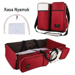 JT90373-red Tas Multifungsi Tempat Tidur Bayi Portable Import