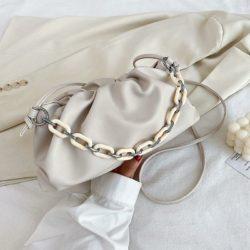 JT93455-beige Tas Selempang Handbag Rantai Keren Wanita Cantik