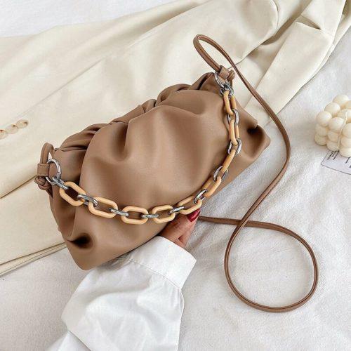JT93455-khaki Tas Selempang Handbag Rantai Keren Wanita Cantik