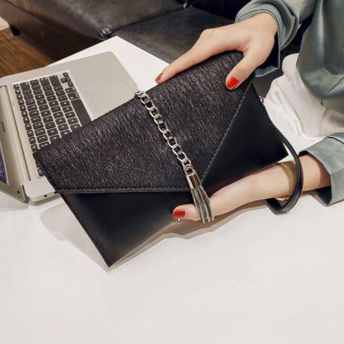 JT93495-black Dompet Clutch Wanita Elegan Terbaru Import