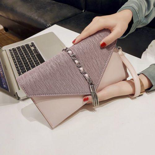 JT93495-pink Dompet Clutch Wanita Elegan Terbaru Import