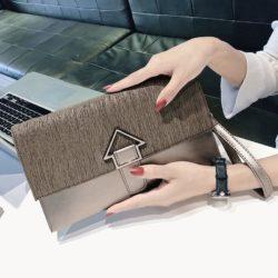 JT93497-bronze Dompet Clutch Wanita Elegan Terbaru Import