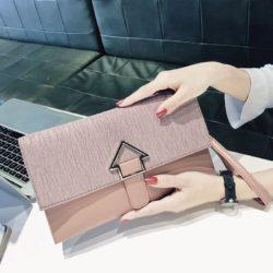 JT93497-pink Dompet Clutch Wanita Elegan Terbaru Import