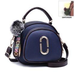 JT97658-blue Tas Handbag Wanita Gantungan Pom Pom Import