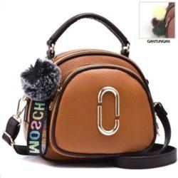 JT97658-brown Tas Handbag Wanita Gantungan Pom Pom Import