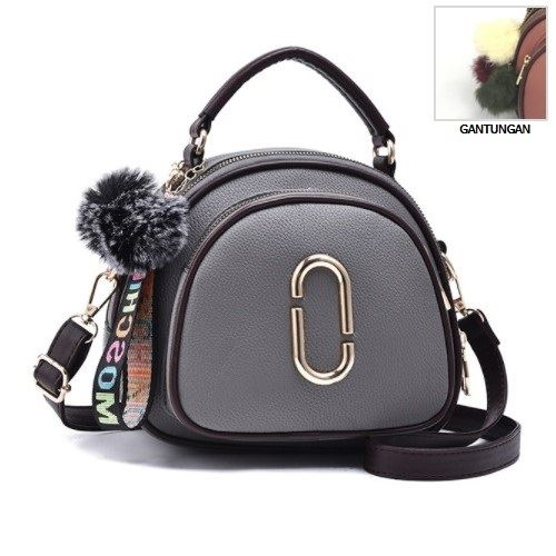 JT97658-gray Tas Handbag Wanita Gantungan Pom Pom Import