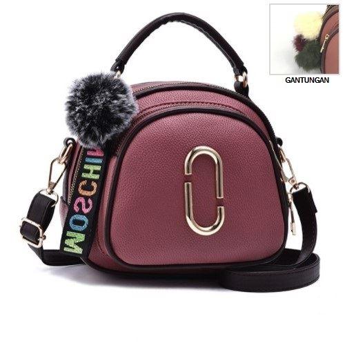 JT97658-purple Tas Handbag Wanita Gantungan Pom Pom Import