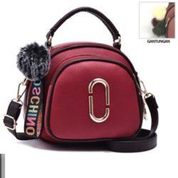 JT97658-red Tas Handbag Wanita Gantungan Pom Pom Import