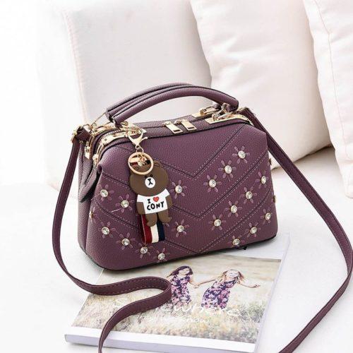 JT98726-purple Doctor Bag Import Gantungan Teddy