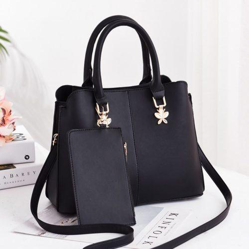 JT9902-black Tas Handbag Wanita Elegan 2in1 Terbaru