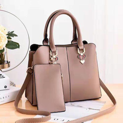 JT9902-khaki Tas Handbag Wanita Elegan 2in1 Terbaru