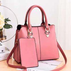 JT9902-pink Tas Handbag Wanita Elegan 2in1 Terbaru