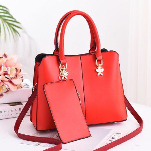 JT9902-red Tas Handbag Wanita Elegan 2in1 Terbaru