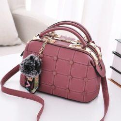 JT99663-darkpink Doctor Bag Pom Pom Import Wanita Cantik