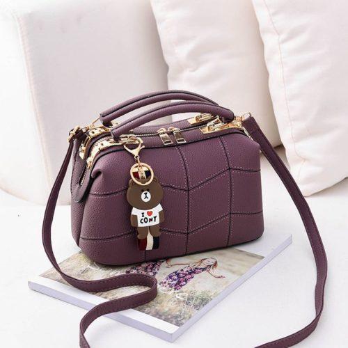 JT99870-purple Doctor Bag Elegan Wanita Gantungan Cony